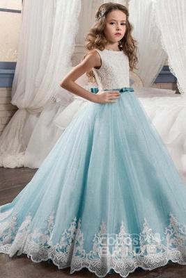 White Scoop Neck Sleeveless Ball Gown Flower Girls Dress_8