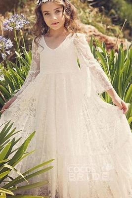 White Scoop Neck Long Sleeves Dress Flower Girls Dress_3