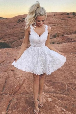 ZY203 Cocktail Dresses Short White Ball Gowns With Lace_1