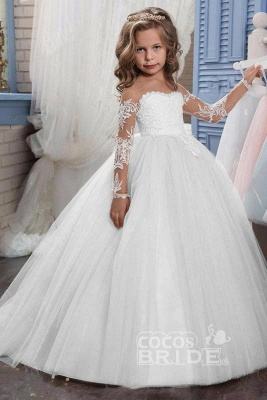 White Scoop Neck Long Sleeves Ball Gown Flower Girls Dress_1