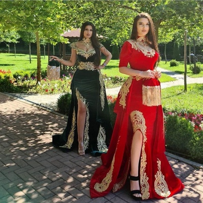 ZY170 Elegant Evening Dresses Long Red Prom Dresses With Sleeves_3
