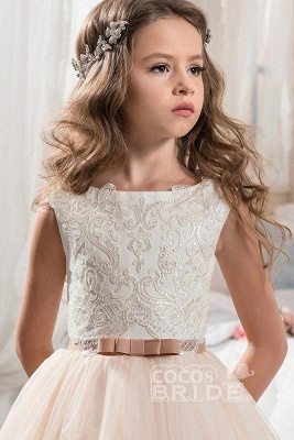 White Scoop Neck Sleeveless Ball Gown Flower Girls Dress_3