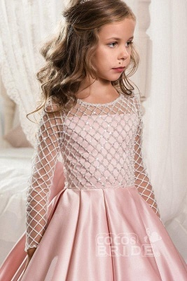 White Scoop Neck Long Sleeves Ball Gown Flower Girls Dress_3