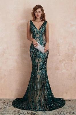 ZY189 Green Evening Dresses Long V Neck Prom Dresses Glitter_1