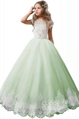 Light Pink Scoop Neck Short Sleeve Ball Gown Flower Girls Dress_5