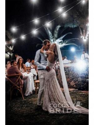 Ivory Lace Beach Wedding Dresses Sweetheart Neck Rustic Boho Wedding Dresses_10