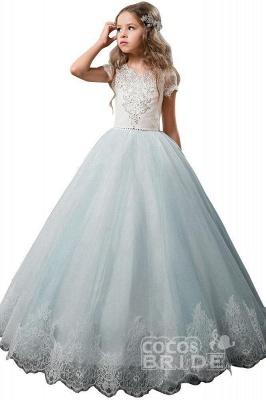 Light Pink Scoop Neck Short Sleeve Ball Gown Flower Girls Dress_6