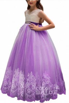 Pink Scoop Neck Sleeveless Ball Gown Flower Girls Dress_10