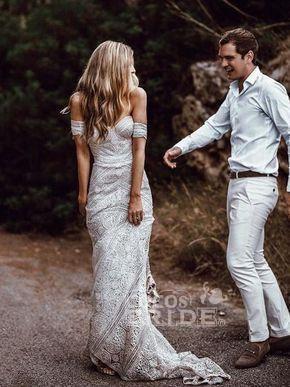 Ivory Lace Beach Wedding Dresses Sweetheart Neck Rustic Boho Wedding Dresses_7