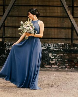 ZY192 Beautiful Bridesmaid Dresses Long Chiffon Blue Dresses Bridesmaids_2