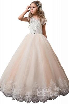Light Pink Scoop Neck Short Sleeve Ball Gown Flower Girls Dress_3