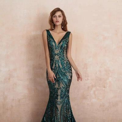ZY189 Green Evening Dresses Long V Neck Prom Dresses Glitter_2