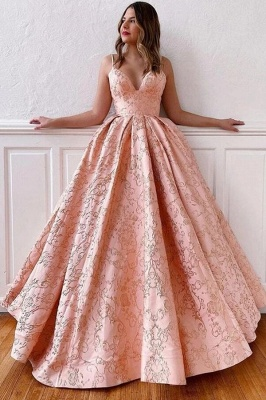 ZY214 Luxury Evening Dress Long Pink Prom Dresses V Neck_1