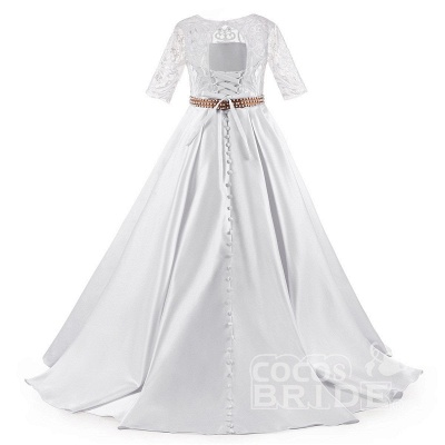 White Scoop Neck 1/2 Sleeves Trumpet Flower Girls Dress_5