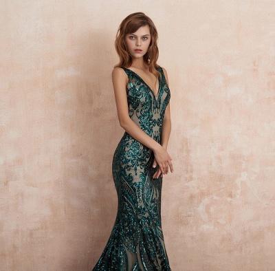 ZY189 Green Evening Dresses Long V Neck Prom Dresses Glitter_4
