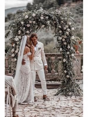 Ivory Lace Beach Wedding Dresses Sweetheart Neck Rustic Boho Wedding Dresses_11
