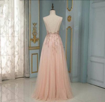 ZY193 Evening Dresses Long With Glitter Evening Dress V Neckline Online_3