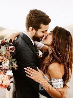 Ivory Lace Beach Wedding Dresses Sweetheart Neck Rustic Boho Wedding Dresses_4