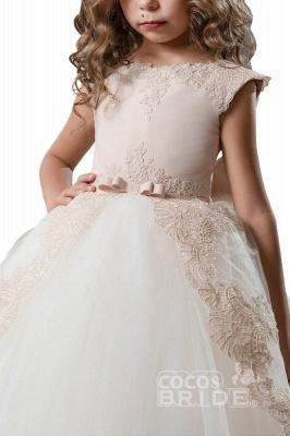 Scoop Neck Crap Straps Ball Gown Flower Girls Dress_3