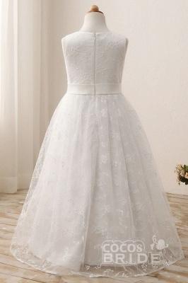 White Scoop Neck Short Sleeveless Ball Gown Flower Girls Dress_2