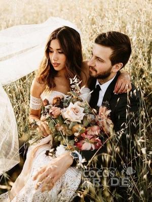 Ivory Lace Beach Wedding Dresses Sweetheart Neck Rustic Boho Wedding Dresses_5