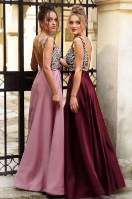 ZY171 Designer Evening Dresses Wine Red Evening Wear Prom Dress V Neckline_2