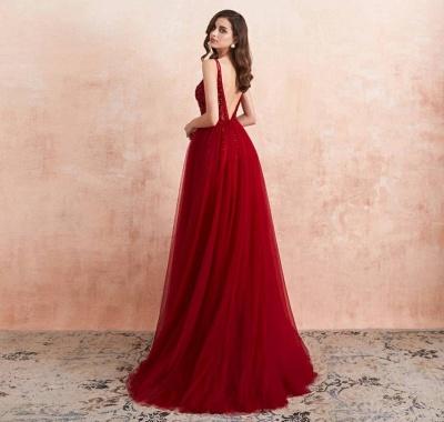 ZY176 Elegant Evening Dresses V Neckline Prom Dresses Long Red Online_3