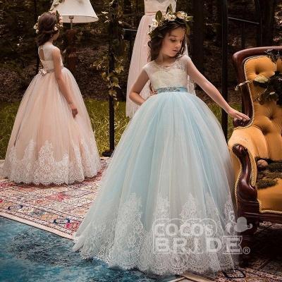 Pink Scoop Neck Sleeveless Ball Gown Flower Girls Dress_14