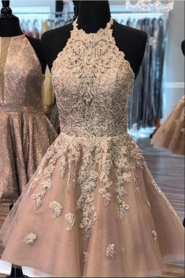 ZY200 Champagne Cocktail Dresses Short Elegant Party Dresses With Lace_2