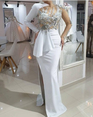ZY173 Evening Dresses Long White Prom Dresses With Sleeves Online_2