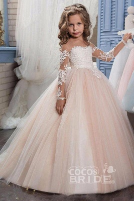 White Scoop Neck Long Sleeves Ball Gown Flower Girls Dress_14