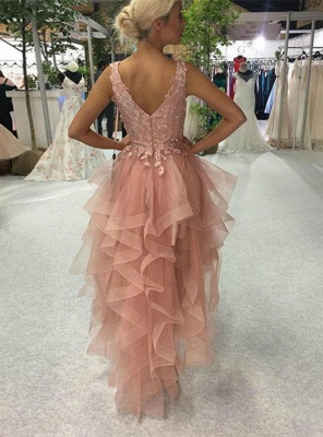 ZY191 Cocktail Dresses Short Front Long Back Prom Dresses With Lace_3