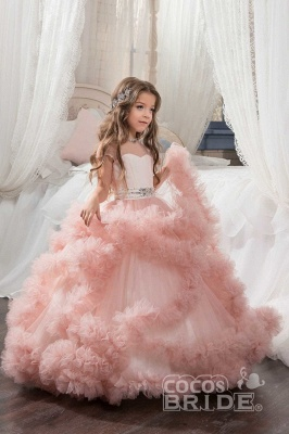 Violet Scoop Neck Short Sleeves Ball Gown Flower Girls Dress_8
