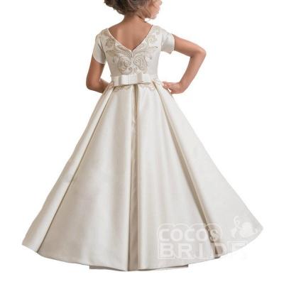 Scoop Neck Short Sleeves Ball Gown Flower Girls Dress_3