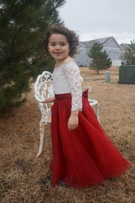Scoop Neck 3/4 Sleeves Ball Gown Flower Girls Dress_1