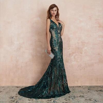 ZY189 Green Evening Dresses Long V Neck Prom Dresses Glitter_6