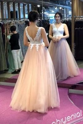 ZY243 Elegant Evening Dresses Long V Neckline Evening Wear With Lace_3