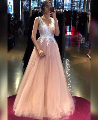 ZY243 Elegant Evening Dresses Long V Neckline Evening Wear With Lace_2