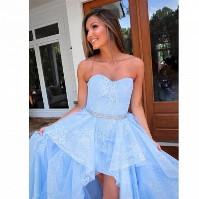 ZY238 Light Blue Evening Dress With Lace Cocktail Dresses Short Front Long Back_4