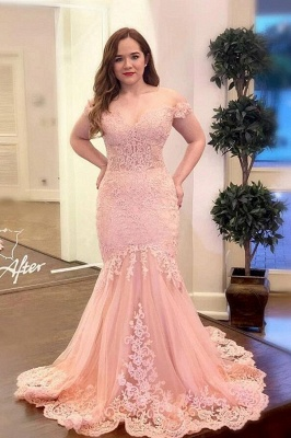 ZY283 Evening Dresses Long Pink Prom Dresses With Lace_1