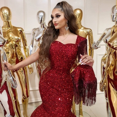 ZY240 Prom Dresses Long Glitter Extravagant Evening Dresses Red_4