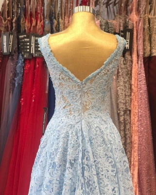 ZY236 Lighter Blue Evening Dresses Maternity Clothes Mascara Dresses With Lace_5