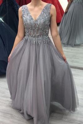 ZY280 Elegant Evening Dresses Long V Neck Prom Dresses Glitter_1