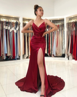 ZY298 Simple Evening Dress Wine Red Evening Wear Prom Dresses Online_2