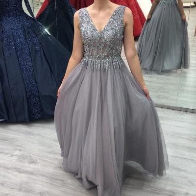 ZY280 Elegant Evening Dresses Long V Neck Prom Dresses Glitter_2