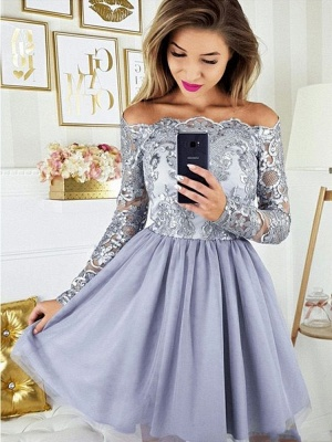 ZY271 Cocktail Dresses With Sleeves Short Prom Dresses Glitter_2