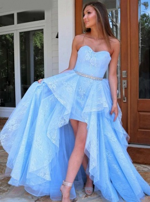 ZY238 Light Blue Evening Dress With Lace Cocktail Dresses Short Front Long Back_2