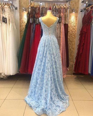 ZY236 Lighter Blue Evening Dresses Maternity Clothes Mascara Dresses With Lace_3