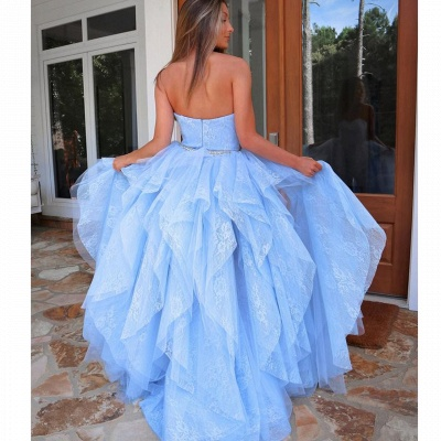 ZY238 Light Blue Evening Dress With Lace Cocktail Dresses Short Front Long Back_3