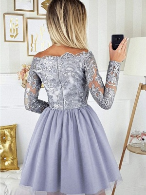 ZY271 Cocktail Dresses With Sleeves Short Prom Dresses Glitter_3